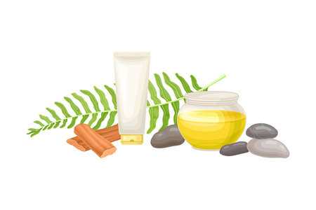 Spa Treatment with Stones, Sandalwood and Skin Lotion Tube  Composition