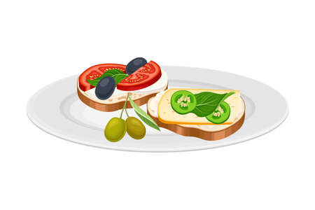 Sandwiches with Cheese, Olives and Tomatoes as Spanish Cuisine Dish Served on Plate Vector Illustration