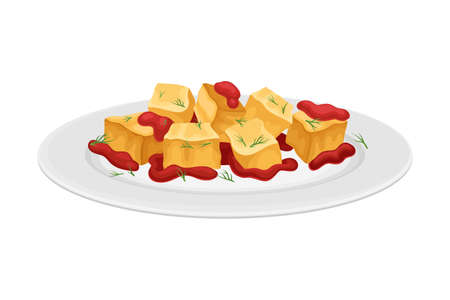 Tapas with Sauce as Spanish Cuisine Starter Served on Plate Vector Illustration