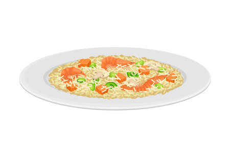Rice with Shrimps and Mushrooms as Spanish Cuisine Dish Served on Plate Vector Illustration