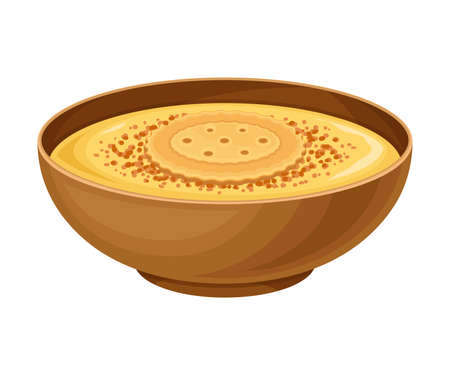 Creamy Soup as Spanish Cuisine Dish Served in Bowl Vector Illustration