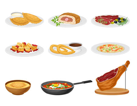 Spanish Cuisine with Rice and Meat Dishes Served on Plates Vector Set