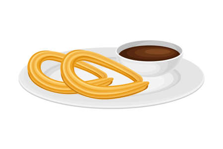 Churros from Choux Pastry with Hot Chocolate as Spanish Cuisine Dessert Served on Plate Vector Illustration