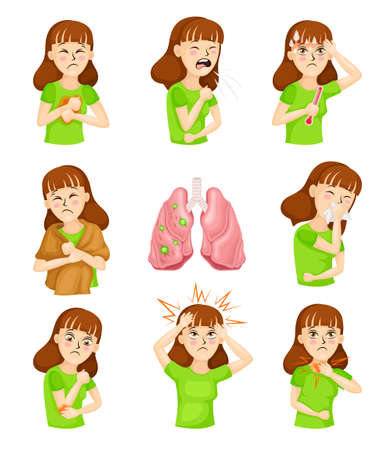 Young Woman Suffering from Coronavirus Symptoms Like Cough and Headache Vector Illustration