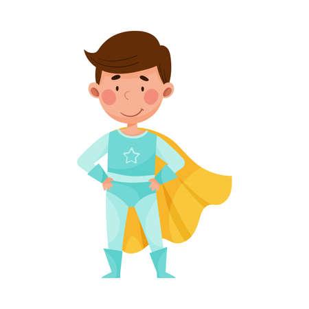 Cute Boy with Dark Hair Wearing Superhero Costume Vector Illustration Vecteurs