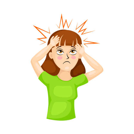 Young Woman Suffering from Coronavirus Symptom Like Headache Vector Illustration