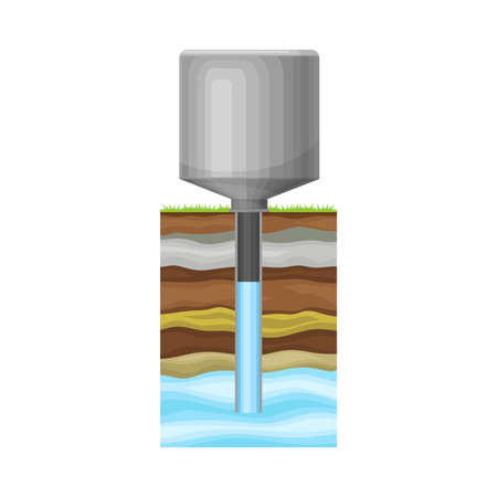 Metal Tank Extracting or Drawing Drinking Water Illustration