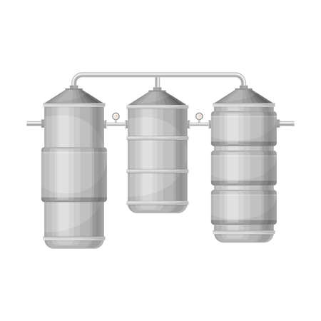 Metal Tank with Drinking Water Purification or Treatment Process Illustration