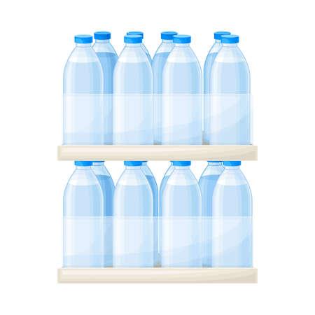 Drinking Water Poured in Plastic Bottles Rested on Supermarket Shelf Vector Illustration Ilustração