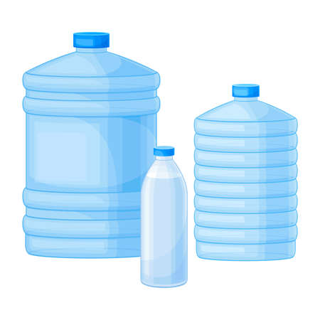 Drinking Water Poured in Plastic Bottles Vector Illustration