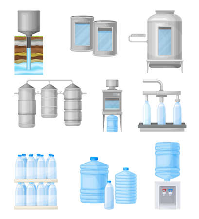 Drinking Water Production and Purification with Extraction, Treatment and Bottling Vector Illustration Set Ilustração