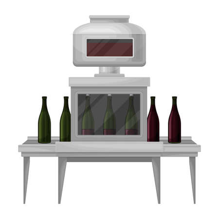 Wine Bottling Process with Glass Bottles Moving on Conveyor Belt Illustration Ilustração