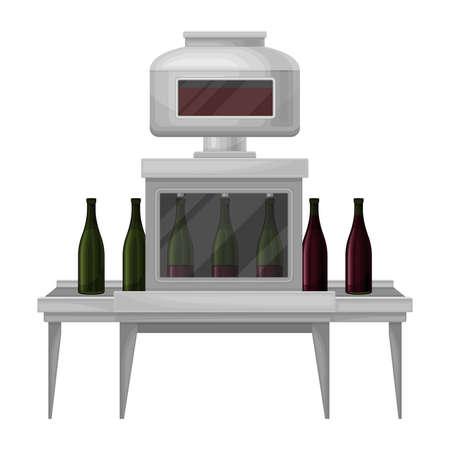 Wine Bottling Process with Glass Bottles Moving on Conveyor Belt Illustration 向量圖像