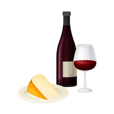 Wine Bottle with Full Glass for Degustation and Slab of Cheese Vector Illustration