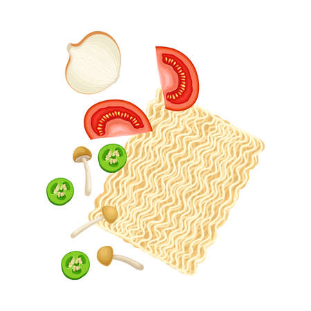 Ingredients for Chinese Noodle Preparation with Mushroom, Tomatoes and Noodle Vector Illustration