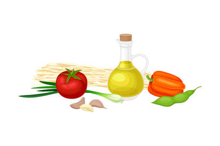 Ingredients for Chinese Noodle Preparation with Olive Oil in Glass Jar and Vegetables Vector Illustration