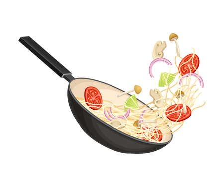 Chinese Udon Noodle Preparation with Stir-frying in Wok Pan Illustration
