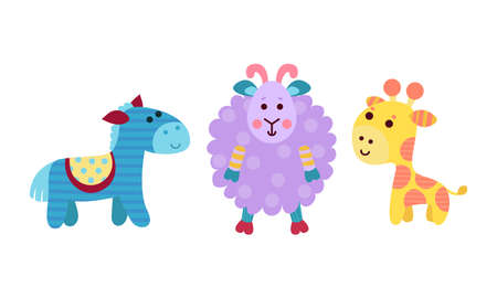 Animal Dolls or Sewed Stuffed Toys Vector Set