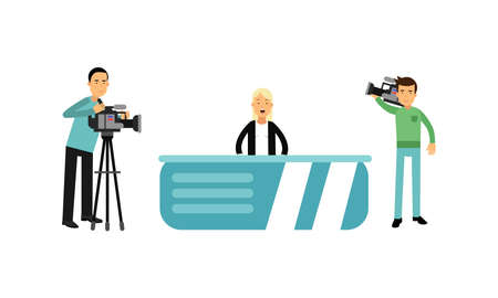 Woman Character as Journalist or News Reporter from Studio TV Broadcast and Cameraman Vector Illustration Set.