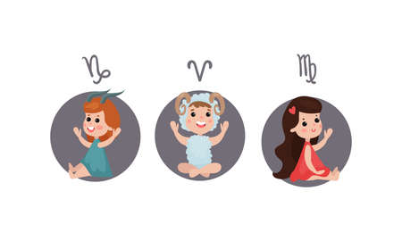 Cute Kid Characters Depicting Zodiac Sign or Astrological Sign Vector Illustration Set