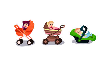 Cute Little Toddlers Sitting in Baby Carriage Vector Illustration Set