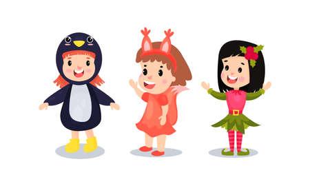 Happy Kid Dressed in Christmas Costumes Vector Illustration Set Ilustración de vector