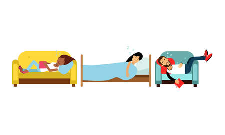 People Characters Fallen Asleep on Couch While Reading Vector Illustration Set