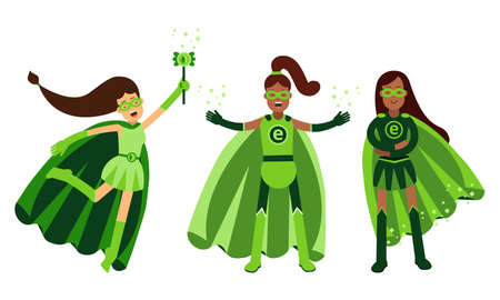 Young Woman in Green Eco Superhero Costumes Standing and Rushing to the Rescue Vector Illustration Set