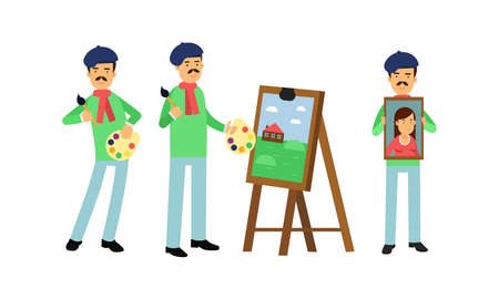 Smiling Artist in Beret Painting on Canvas Vector Illustration Set