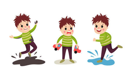Naughty Boy Jumping in Puddle and Breaking Toy Car Vector Illustration Set