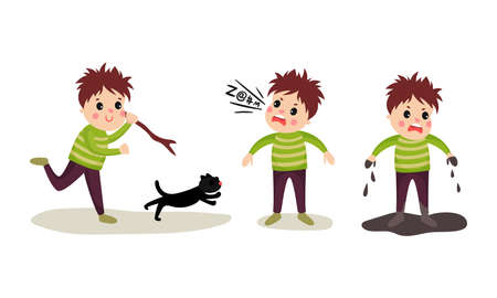 Naughty Boy Chasing Cat, Standing in Mud and Abusing Vector Illustration Set