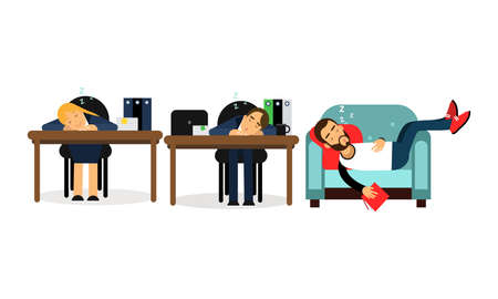 People Characters Sleeping at Office Desk and at Home Vector Illustration Set