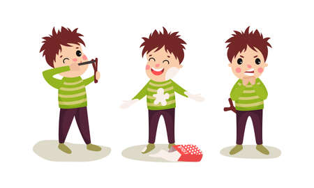 Naughty Boy Catapulting and Staining with Flour Vector Illustration Set