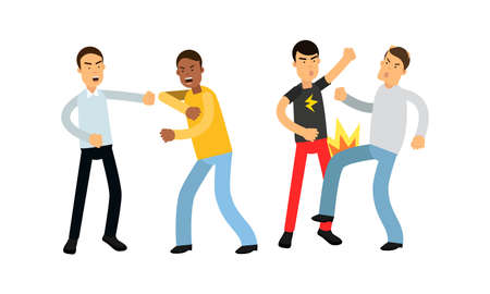 Warring Males Fighting and Yelling at Each Other Vector Illustration Set