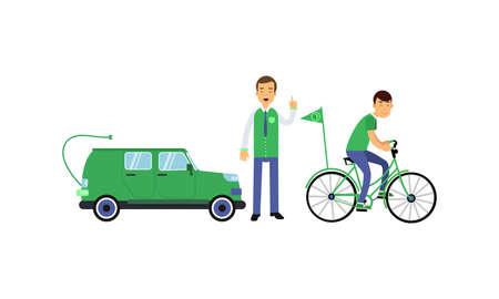 Young Man Contributing into Environment Preservation by Using Eco Friendly Vehicle Vector Illustration Set Illusztráció