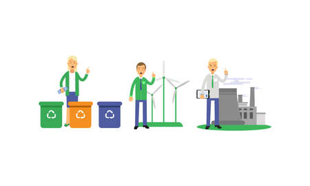 People Characters Contributing into Environment Preservation by Recycling and Using Alternative Energy Vector Illustration Set