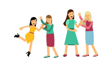 Warring Females Fighting and Yelling at Each Other Vector Illustration Set Vettoriali