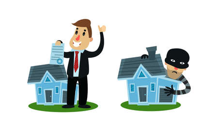 Man Holding Real Estate Insurance Paper Vector Illustration Set