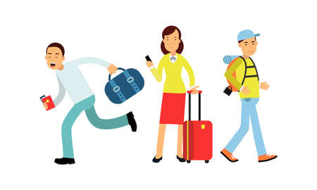 People Characters Carrying Luggage and Holding Tickets Vector Illustration Set