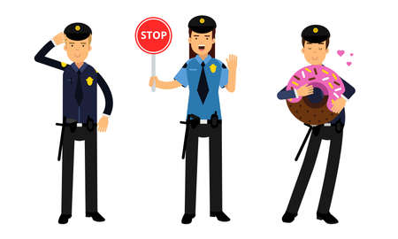 Young Woman as Police Officers with Truncheon and Pistol Controlling Traffic and Man Eating Huge Doughnut Vector Illustration Set
