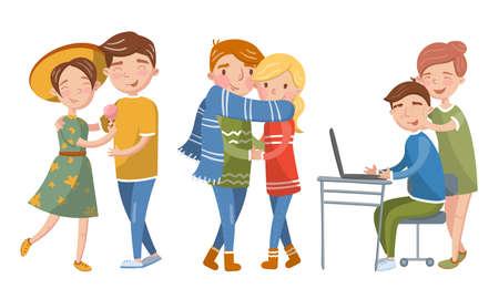 Happy Loving Couples Spending Time Together Vector Illustration Set Illustration