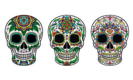 Skull with Ornament as Indigenous Mexican Art and Skeleton Celebration Vector Set Illustration