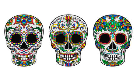 Skull with Ornament as Indigenous Mexican Art and Skeleton Celebration Vector Set