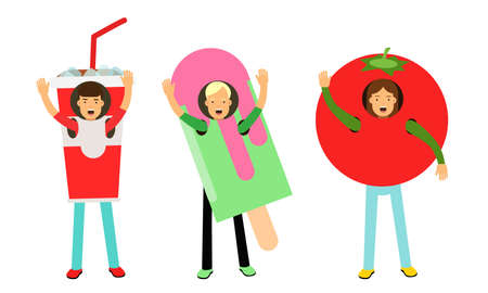 Happy People Characters Wearing Food Costumes Standing and Waving Hand Vector Illustration Set