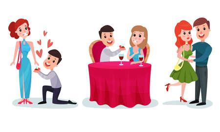Fallen in Love Couples Dating Vector Illustration Set