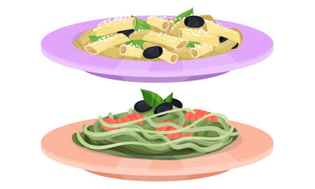 Pasta with Seafood and Olives Served on Plate Vector Illustration Set Vetores