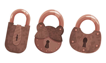 Copper or Brass Padlock with Keyhole as Security Mechanism Vector Set 向量圖像