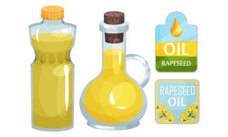 Vegetarian Rapeseed Oil Bottles and Labels Vector Set Ilustração