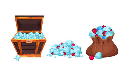 Pile of Gemstones Rested in Sack and Wooden Chest Vector Set Vettoriali