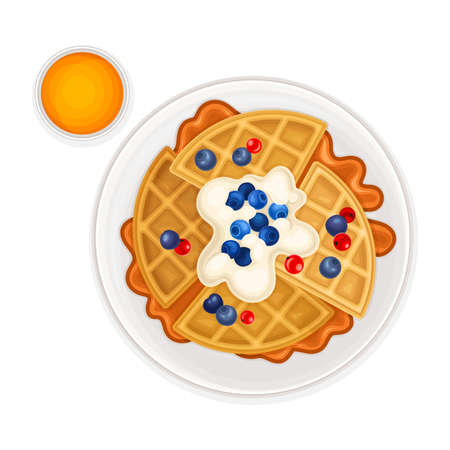Waffles with Textured Surface and Berries Above View Vector Illustration